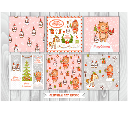 pink banner: Big Set of Christmas graphic elements