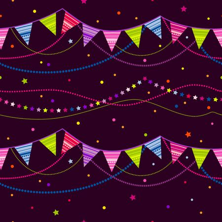 pennant bunting: Cheerful seamless vector illustration with a garland of flags. Illustration