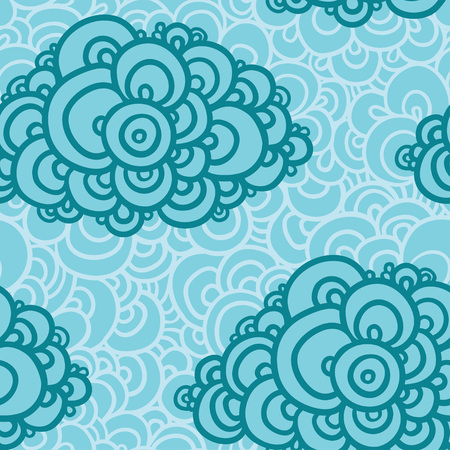 Seamless abstract hand-drawn pattern, clouds background.