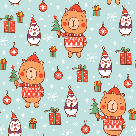 pinguinos navidenos: Cute seamless christmas pattern with bear and penguins. Vectores