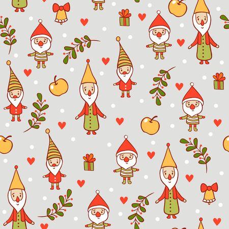 gnomes: Christmas pattern. Holiday card with cute gnomes.