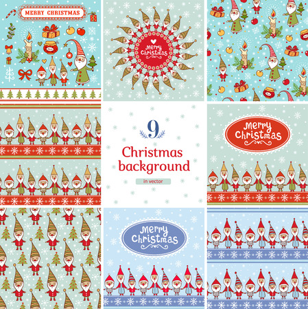 gnomes: 9 stylish holiday seamless patterns with cute gnomes. Illustration