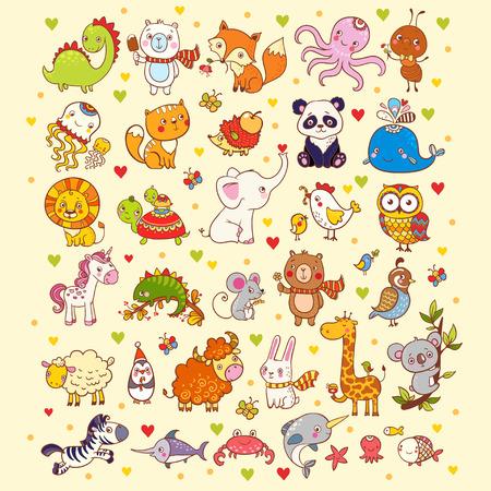 Ilustración vectorial de un conjunto de animales.