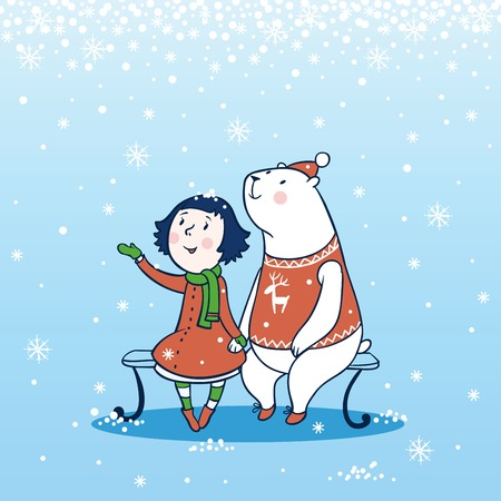 cold: Girl and a bear sitting on a bench in winter.