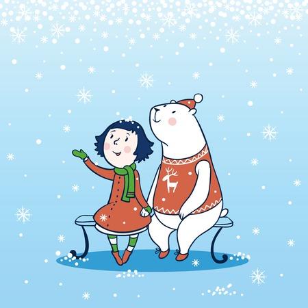 osos navideños: Niña y un oso que se sienta en un banco en el invierno. Vectores
