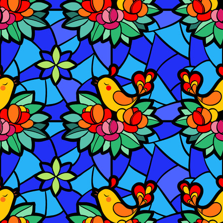 mosaic: Stained-glass window with the birds and flowers.