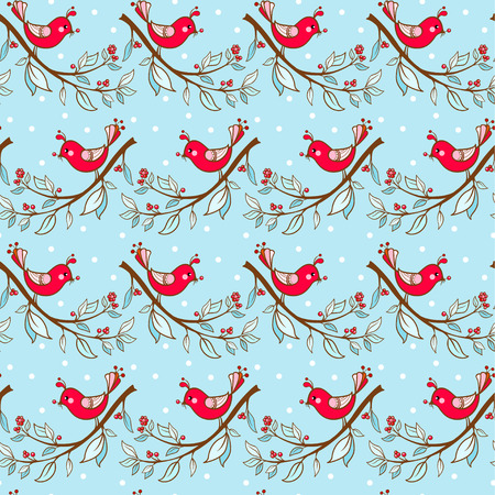 christmas red: Seamless floral pattern with flowers and birds. Illustration