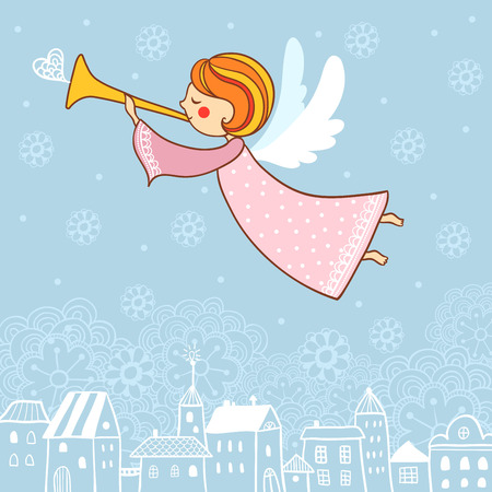 angel girl: Christmas vector illustration on the theme of the new year.