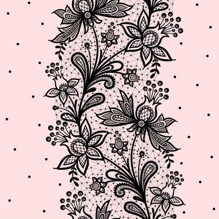 encaje: Encaje de fondo ilustración vectorial sobre un fondo de color rosa.