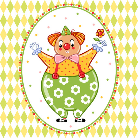 clown shoes: Vector illustration on the theme of the circus with a cheerful clown.