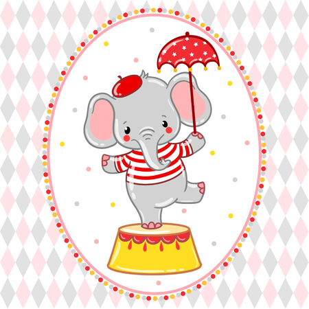 Children vector illustration of a cute Circus elephant standing on a circus tub. Illustration