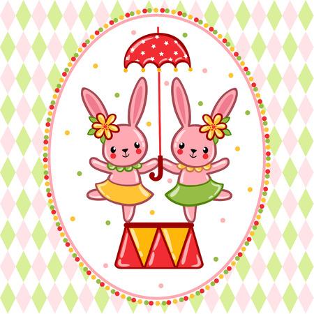 쾌활 한 토끼와 우산 서커스의 테마에 벡터 일러스트 레이 션. 일러스트