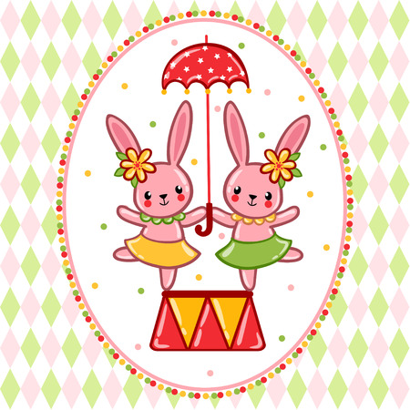 poster art: Vector illustration on the theme of the circus with cheerful rabbits and umbrella.
