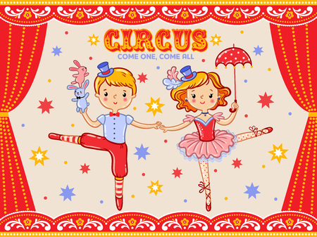 circus performer: Vector circus poster with a boy and a girl.