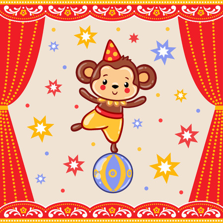 Children vector illustration of a cute Circus monkey standing on a ball.