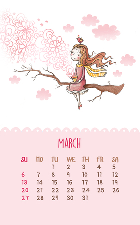 cartoon wind: March. I illustration with romantic girl sitting on a tree branch and drinking tea. Can be used like happy birthday cards. Stock Photo
