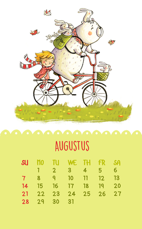 pencil cartoon: August. Cartoon bear and girl ride a bicycle. Can be used like happy birthday cards. Stock Photo
