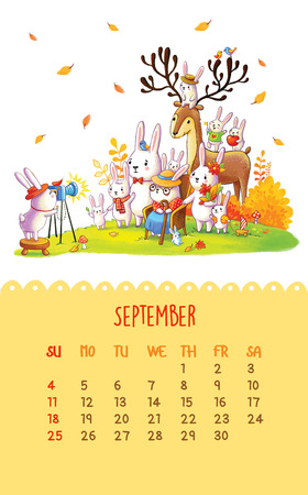 September. Cartoon family bunnies take the photo. Can be used like happy birthday cards.