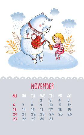 November. Cartoon white teddy bear and a girl drinking tea. Can be used like happy birthday cards.