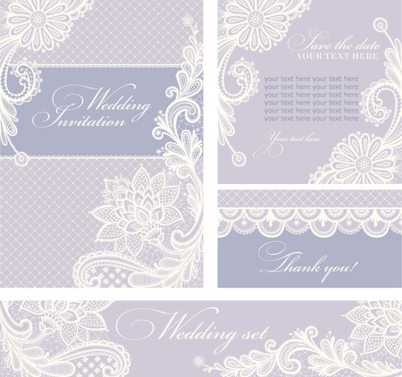 Set of wedding invitations and announcements with vintage lace background. Vectores