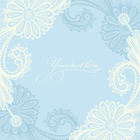 Lace background with a place for text. Frame lace vector design.