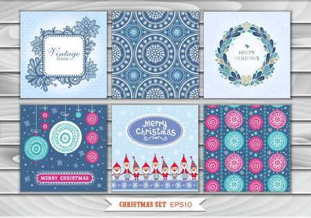 Big set of Christmas cards and drawing with lace and Santa Claus. Design Elements Collection, vector images. New Year. Winter.