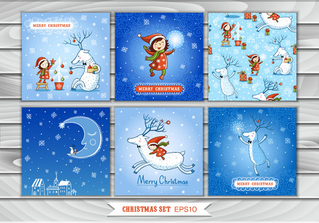 Big Set of Christmas cards and pattern with a girl and reindeer. Collection design elements, vector images. New Year. Winter. Illustration