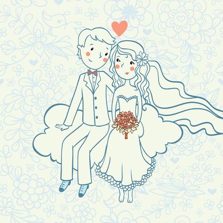 婚禮: 婚禮invitation.Background有一個男孩和一個女孩坐在雲上。 向量圖像