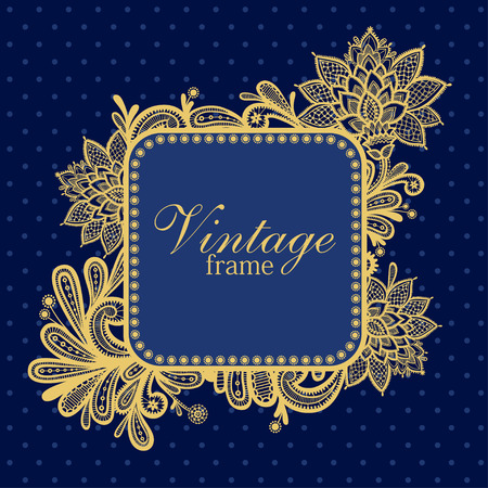 antique background: Template frame design for greeting card. Invitation card with lace frame Illustration