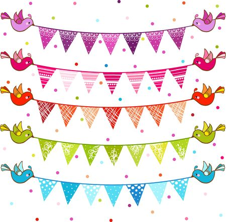 pennant bunting: Cheerful seamless illustration with a garland of flags.