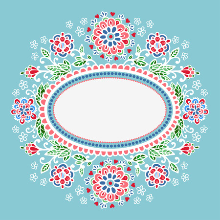 retro illustration: Abstract Decorative Illustration with Oval Frame Shape.