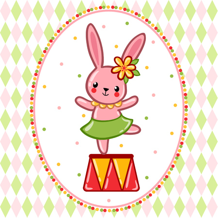 A circus hare standing on a circus tub. Vector illustration. 일러스트