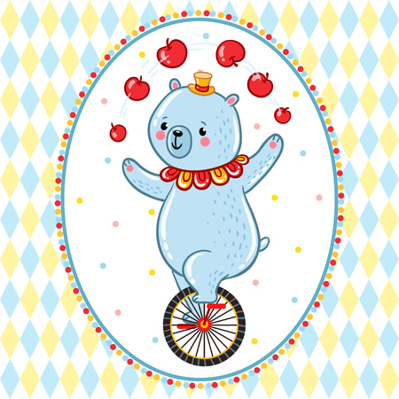 juggles: Bear juggles apples, riding one wheel bike in the Amazing Circus Show.