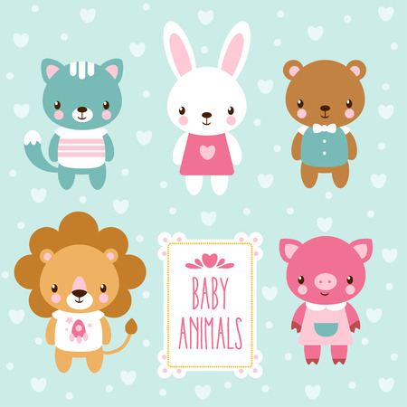 cute animal: Vector illustration of baby animals.