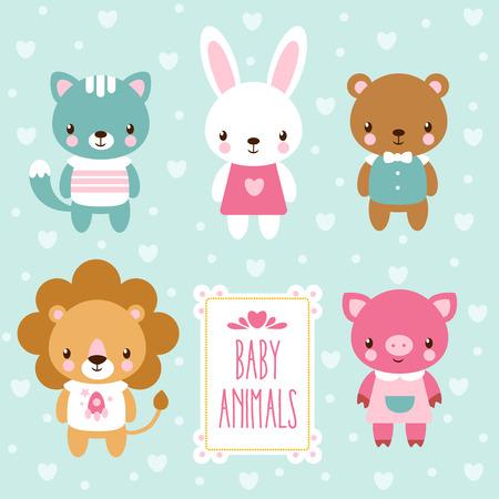 djur: Vektor illustration av baby djur. Illustration