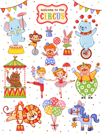 Cute vector set on the theme of the circus. Stock Illustratie