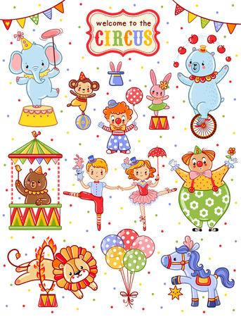 payasos caricatura: vector lindo fijó sobre el tema del circo. Vectores