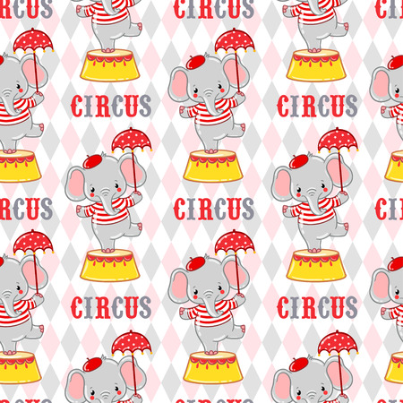 circus animal: Seamless circus background with elephants standing on a circus tub.