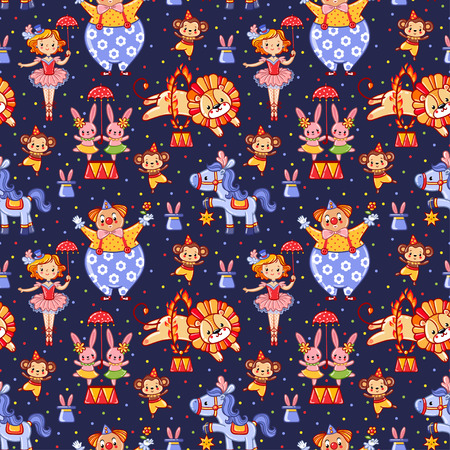 animal pattern: Seamless kids circus pattern in vector with lion, bunny, monkey, clown.
