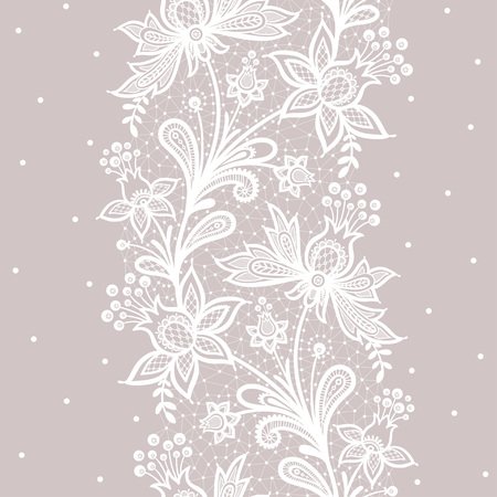 Lace background vector illustration on a gray background.