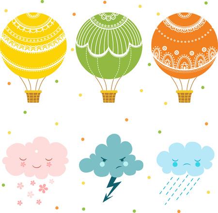 Set van hete lucht ballon en wolken, verzameling van verschillende heteluchtballonnen.