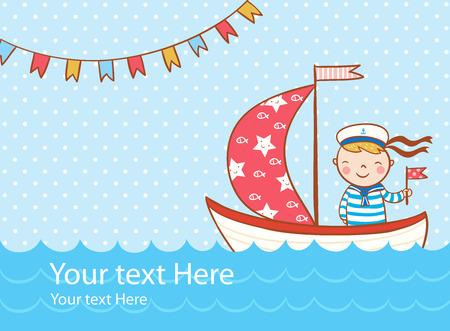 Tarjeta de felicitación hermosa con el muchacho, barco y mar. Vectores