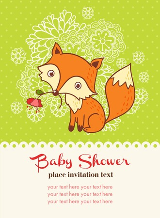 your text: Vector illustration of a fox and a flower with a place for your text.