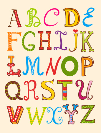 alphabet kids: ABC. Alphabet design in a colorful style.