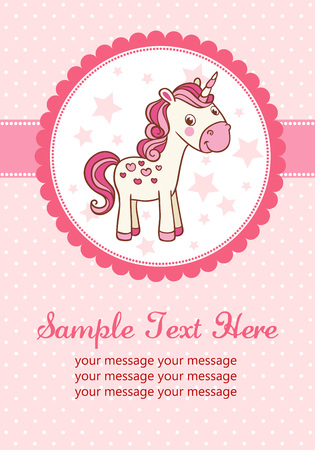 unicorn: Baby shower for girl, pink pastel tones.
