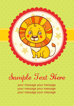 invitation cards: illustration of a lion in a round frame. Perfect for invitations for birthdays and other holidays.