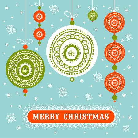 tarjeta de invitacion: Navidad y del A�o Nuevo con bolas de decoraci�n de Navidad. Retro decoraciones de Navidad.
