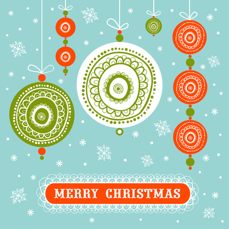 Christmas and New Year card with Christmas decoration balls. Retro Christmas Decorations.