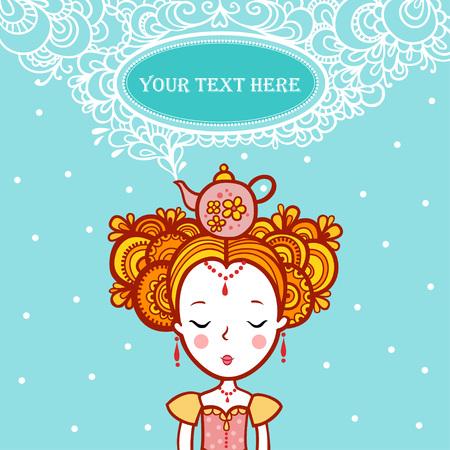 princesa: La princesa de los sueños en el Forma de la montura clouds.Oval con el texto. tetera hierve. La hora del té.