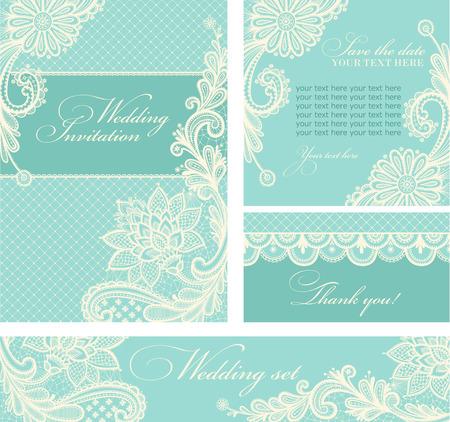 Set van de bruiloft uitnodigingen en aankondigingen met vintage kant achtergrond.